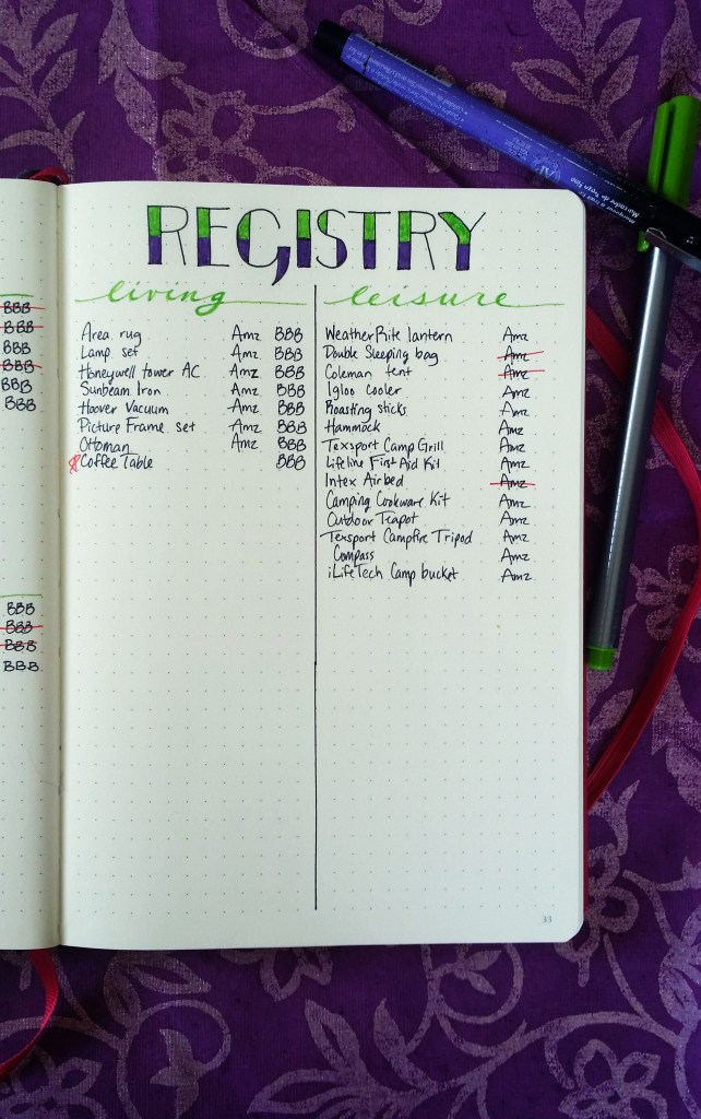 Marked off Wedding Registry in the Bullet Journal