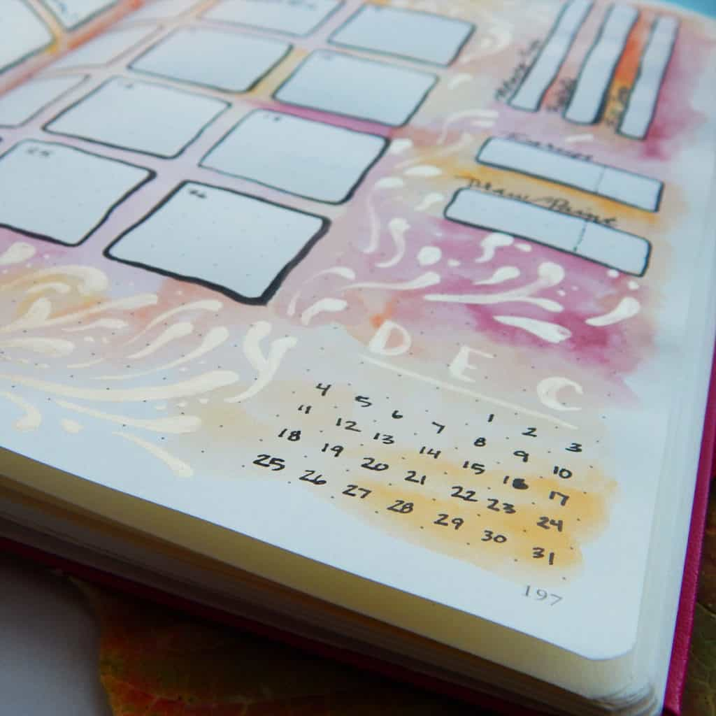 A monthly bullet journal spread is a must for me to organize my big goals. I love being able to see the big picture with the scope of a month, set the tone for the next four weeks, and make it look pretty to boot!
