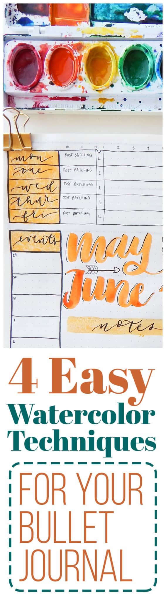 If you've been wanting to start using watercolors in your planner, then this is exactly what you need to get over your fears and get started! These four crazy simple watercolor techniques for your bullet journal will have you throwing down mad watercolor in no time.