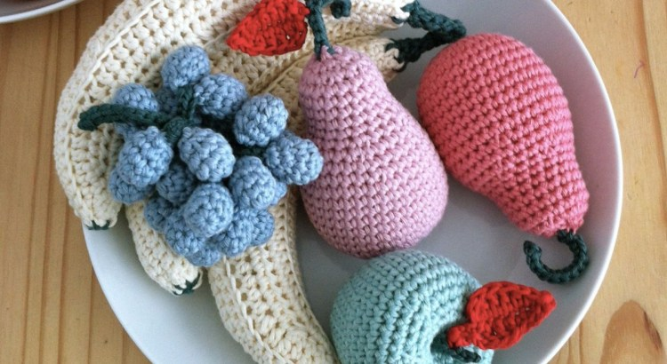 Crocheted fruit in pastel colours