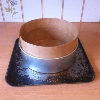 Making Christmas cake and lining the cake tin