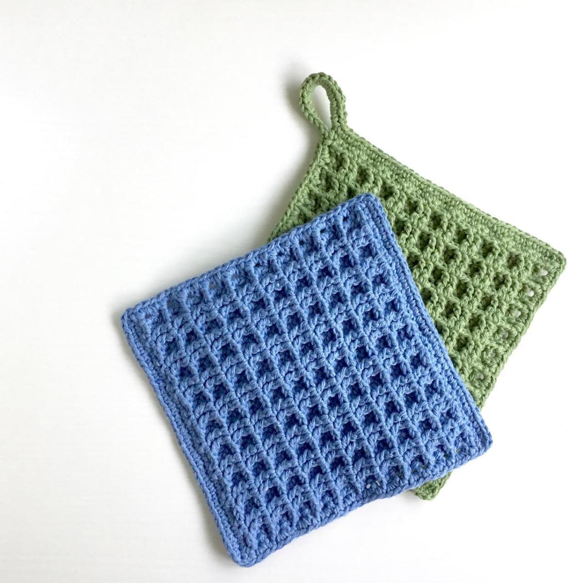 Square Dishcloth Crochet Pattern in Waffle Stitch