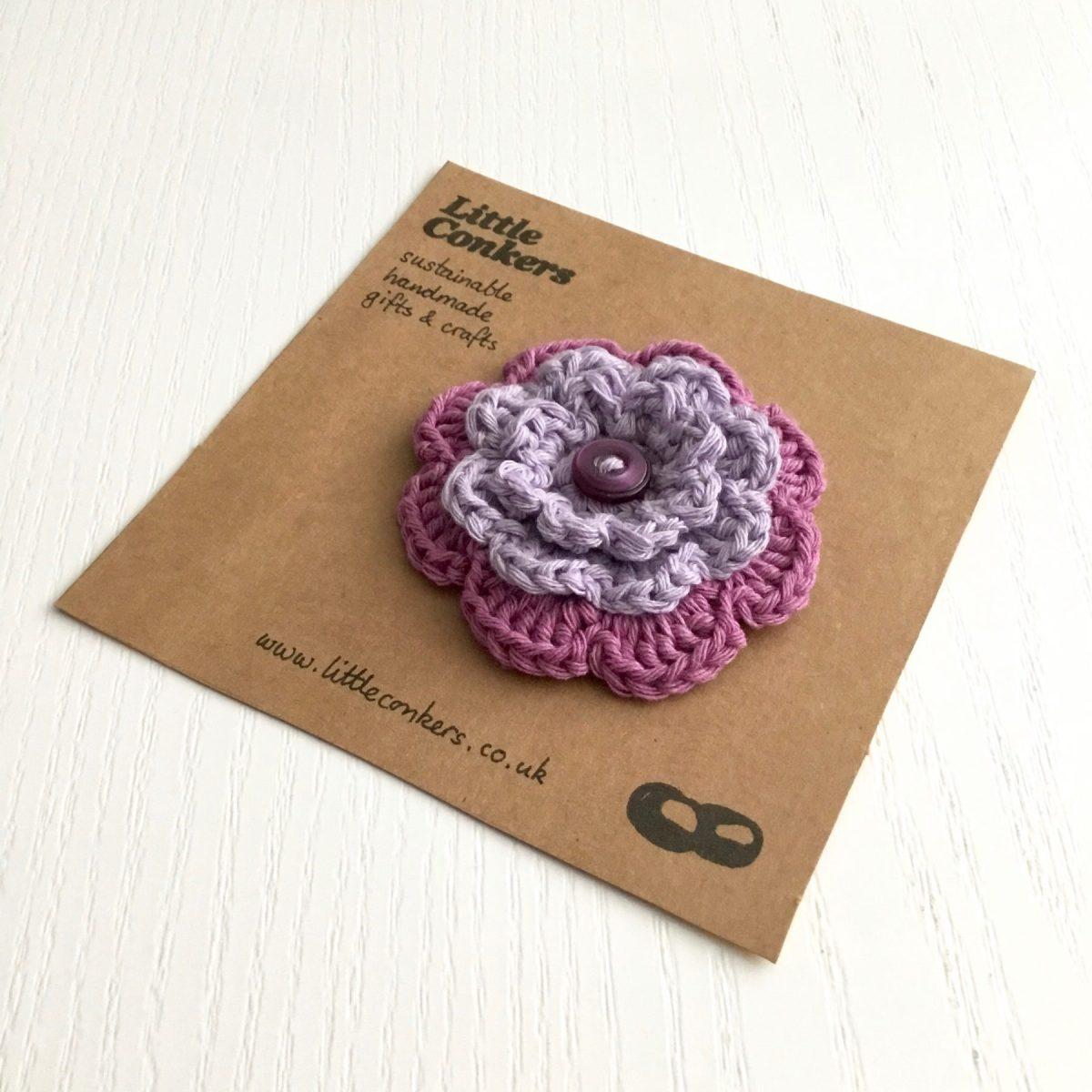 Purple Crocheted Flower Brooch