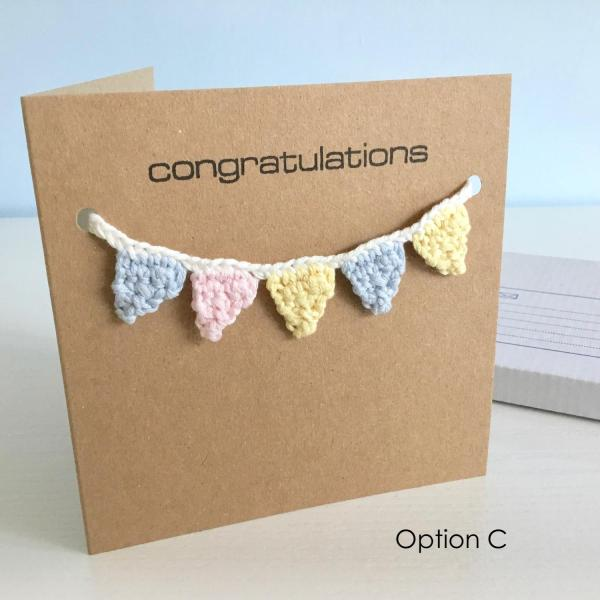 Eco-friendly any occasion greetings card with pastel bunting