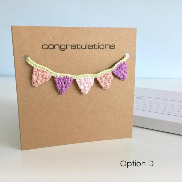 Eco-friendly kraft greetings card with pink and purple bunting