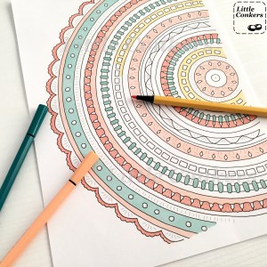 Printable Crochet Mandala Colouring Page by Little Conkers
