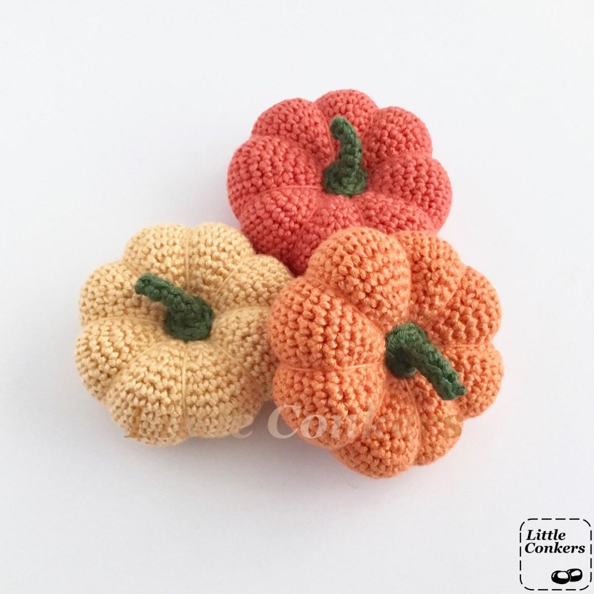 Multi-coloured Pumpkin Ornaments Crocheted