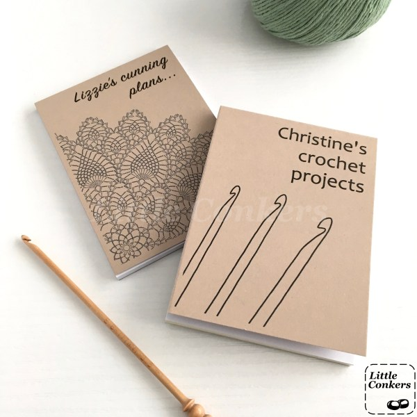 Recycled notepads with kraft covers and crochet designs