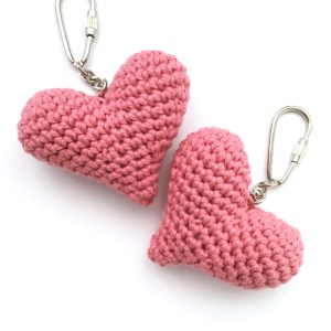Eco-friendly Pink Heart Keychains in Organic Cotton