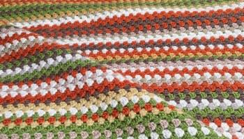 Crocheted Granny Stripe Blanket