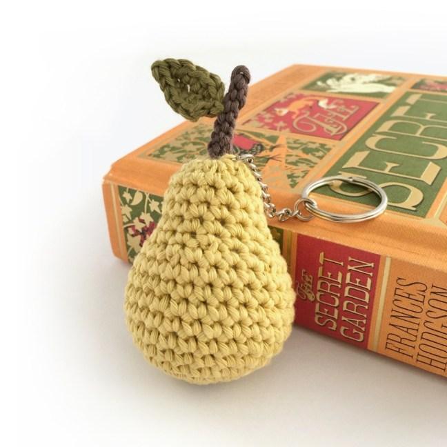 Crocheted organic cotton mini pear keychain