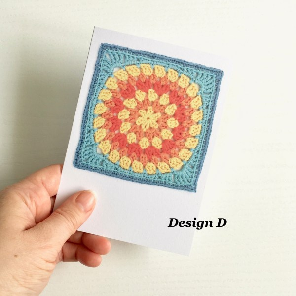 Greetings card featuring a granny square crochet motif
