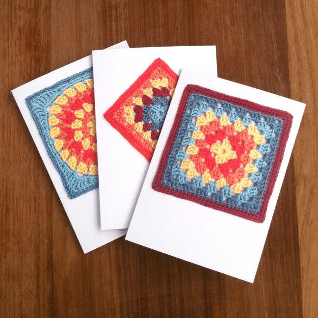Recycled greetings cards featuring granny square crochet designs
