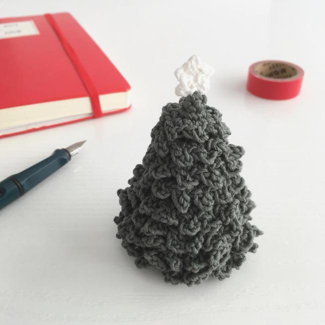 Miniature crocheted Christmas tree