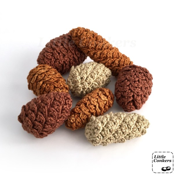 Collection of handmade crochet pine cone ornaments