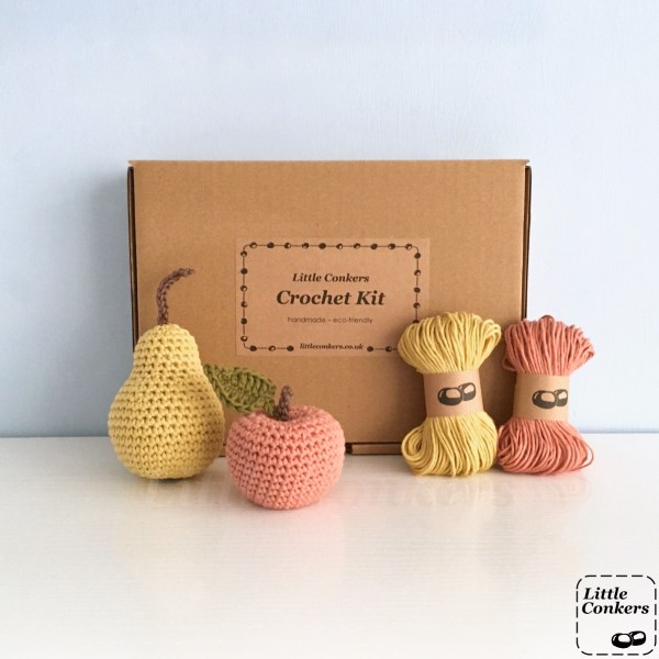 Apple and Pear crochet kit with organic cotton yarn in kraft box