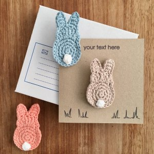 Recycled kraft greetings card with personalised message and organic cotton bunny brooch