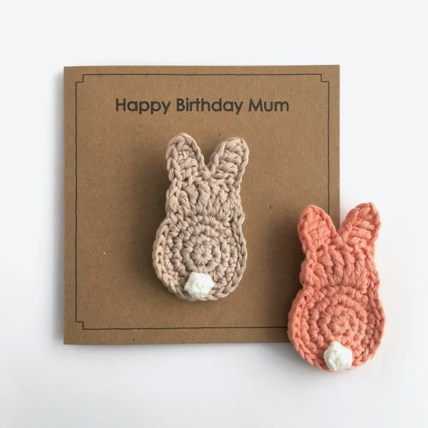 Recycled greetings card with bunny brooch
