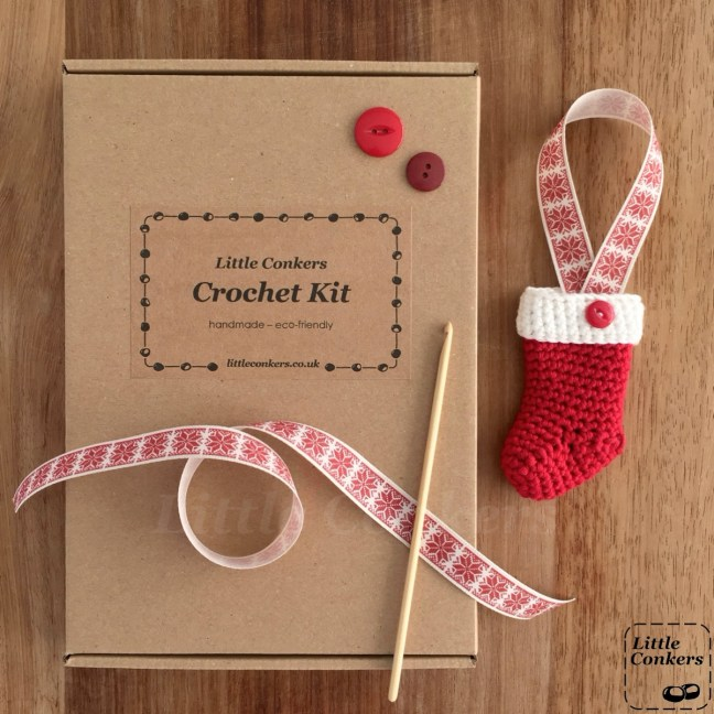Crochet kit for a Christmas stocking in a brown box