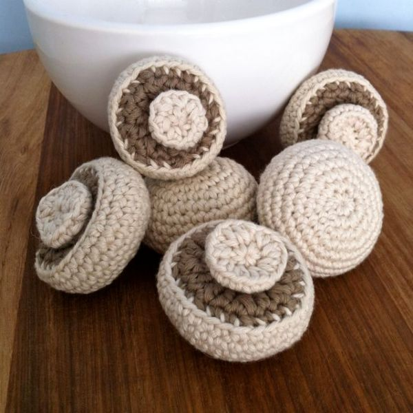Crocheted mushrooms