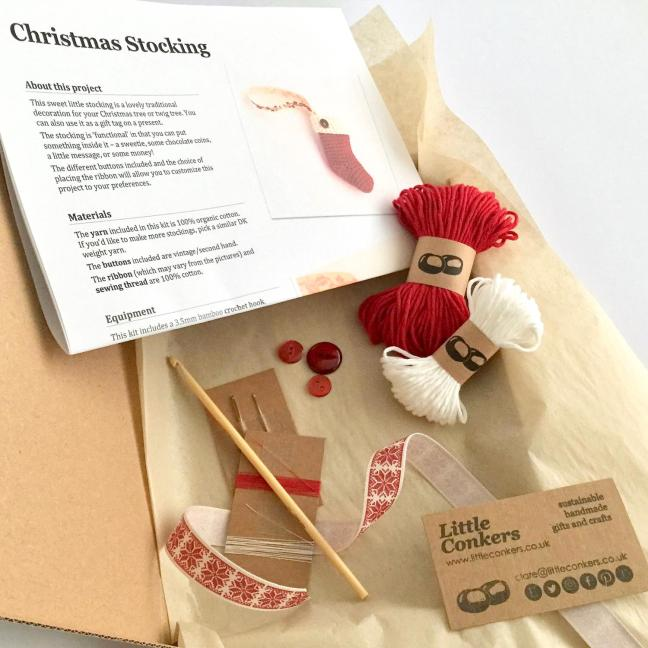 Christmas Stocking Crochet Kit Contents