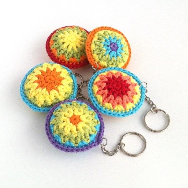Round crocheted keyrings in bright colours