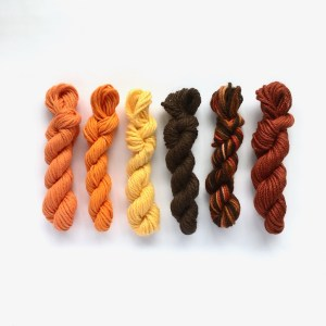 Mini yarn skeins in autumn colours