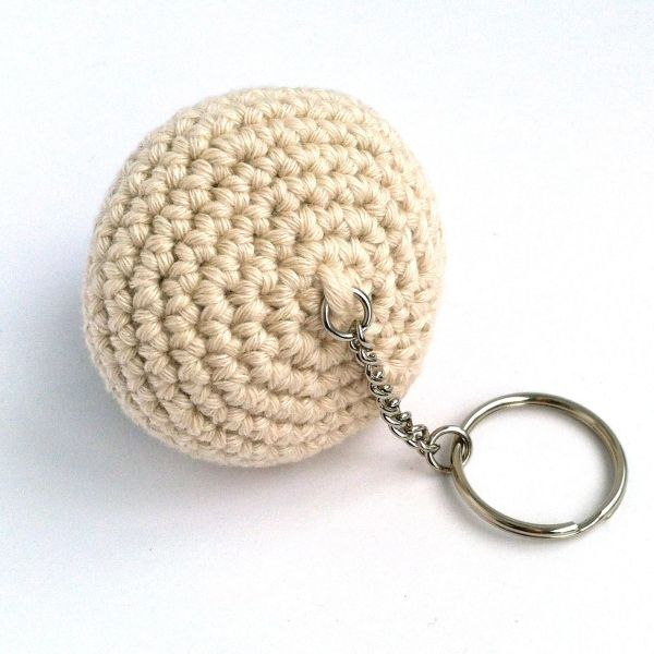 Crocheted mushroom keyring in organic cotton with split ring