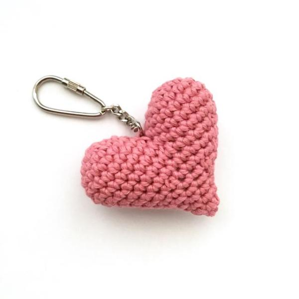 Pink crocheted heart keyring in pink
