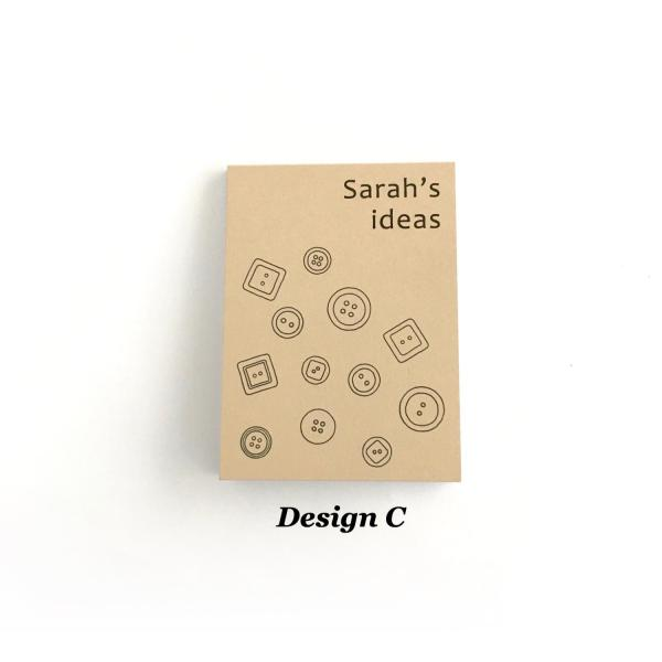 Recycled kraft notepad cover with buttons design