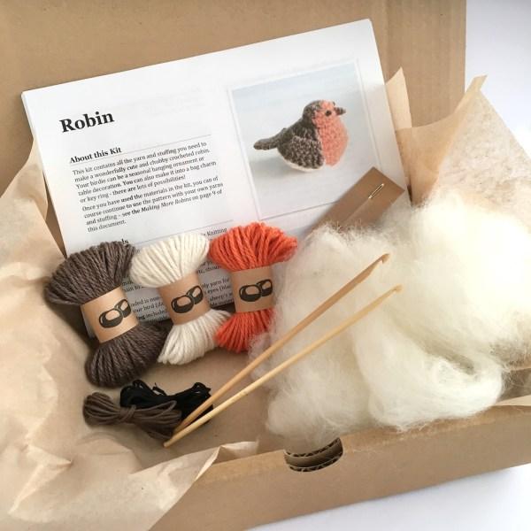 Robin crochet kit in a box