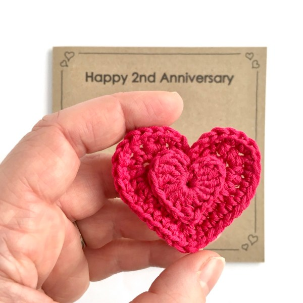 2nd Anniversary Card with Cotton Heart Brooch