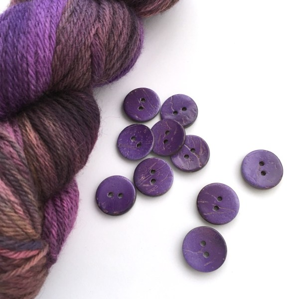 Hand-dyed purple wool and purple buttons
