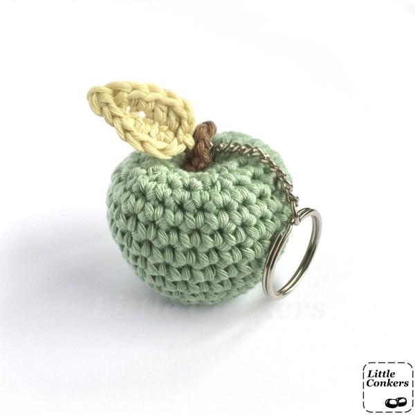 Green crocheted apple key ring