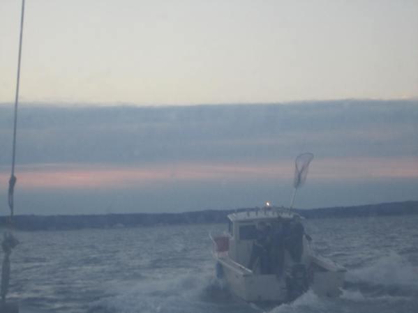 Brendan aboard the chase boat.