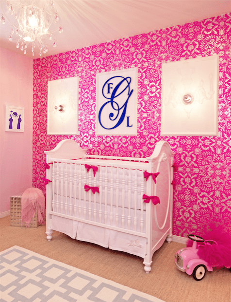Hot Pink Damask Wallpaper Custom Crib Bedding And Acrylic Chandelier Little Crown Interiors