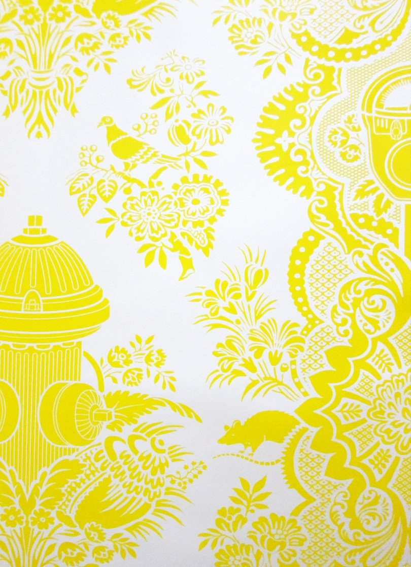 Boy's Damask Wallpaper in Yellow