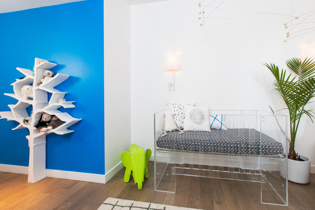 white and blue modern nursery