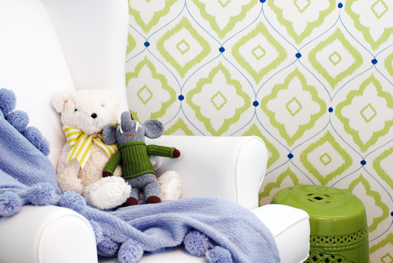 Patterned Green Nursery Wallpaper | Little Crown Interiors for Project Nursery