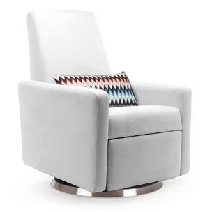 White Leather Modern Glider   Little Crown Interiors