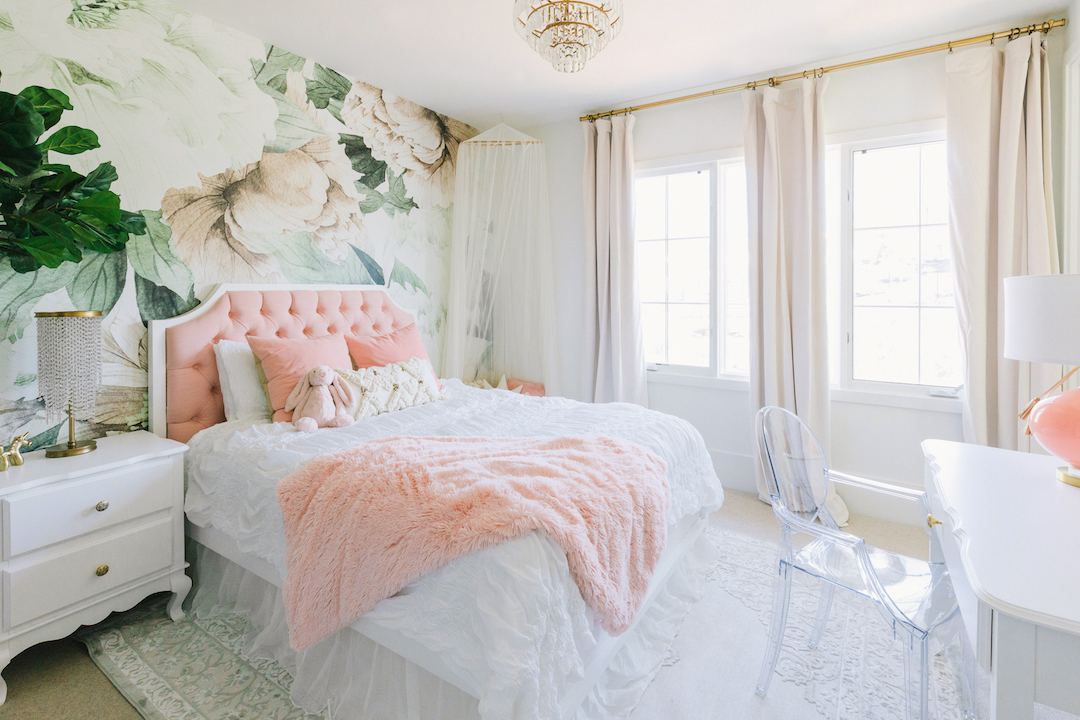 Floral Girl's Bedroom Wallpaper by Little Crown Interiors