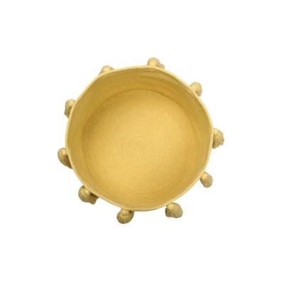 Cotton Tassel Storage Basket in Yellow
