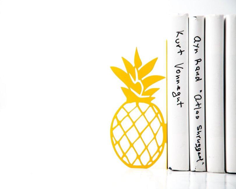 Yellow Pineapple Bookend Metal