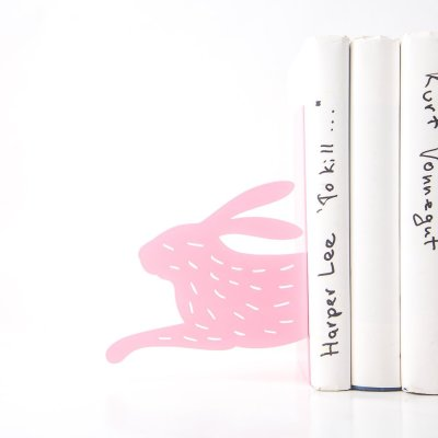 Pink Hare Bookends Metal