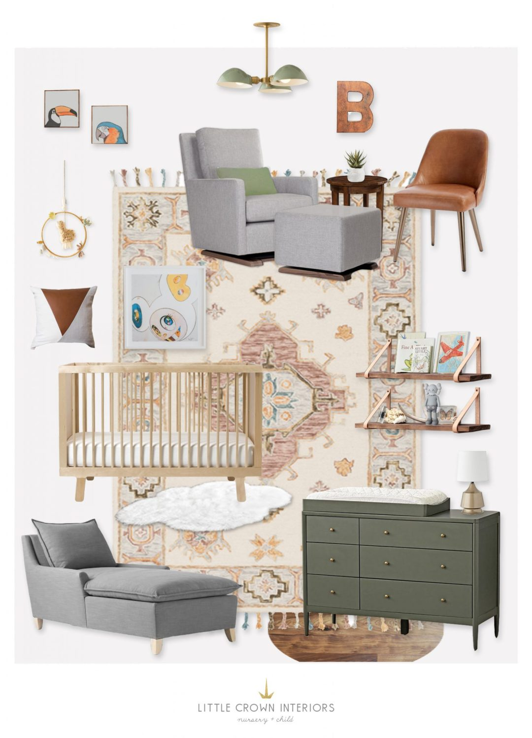 Eclectic Neutral Nursery Design Board by Little Crown Interiors