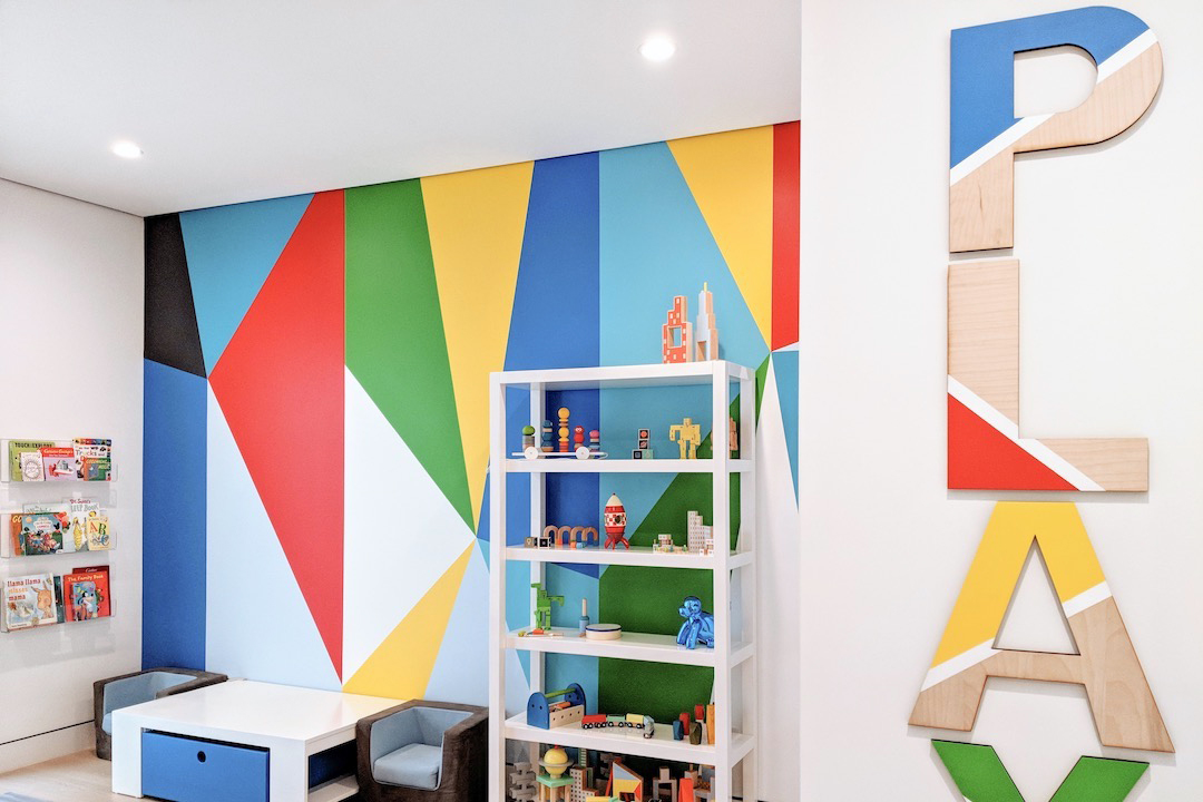 Colorful Modern Playroom by Little Crown Interiors