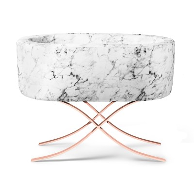 Modern Marble Bassinet on Rose Gold Base