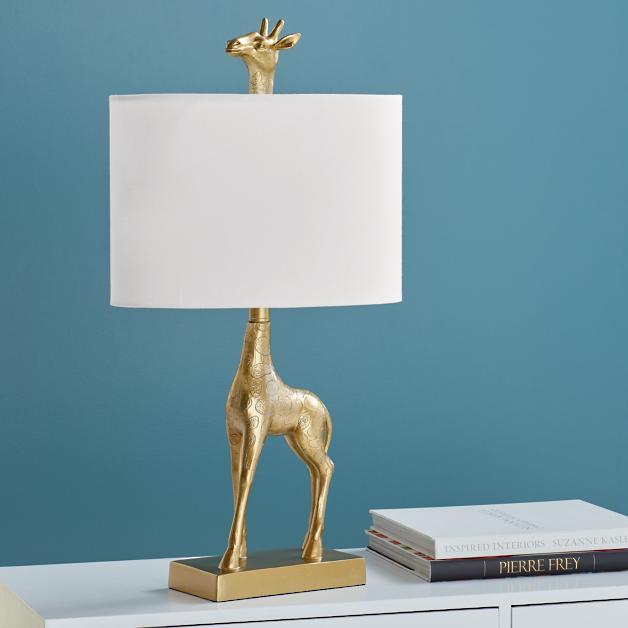 Gold giraffe lamp