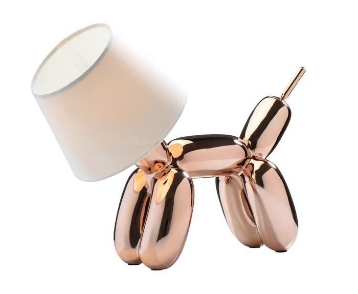 Balloon dog copper rose gold lamp