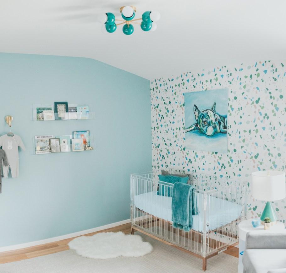 Modern Boy's Nursery with Terrazzo Wallpaper